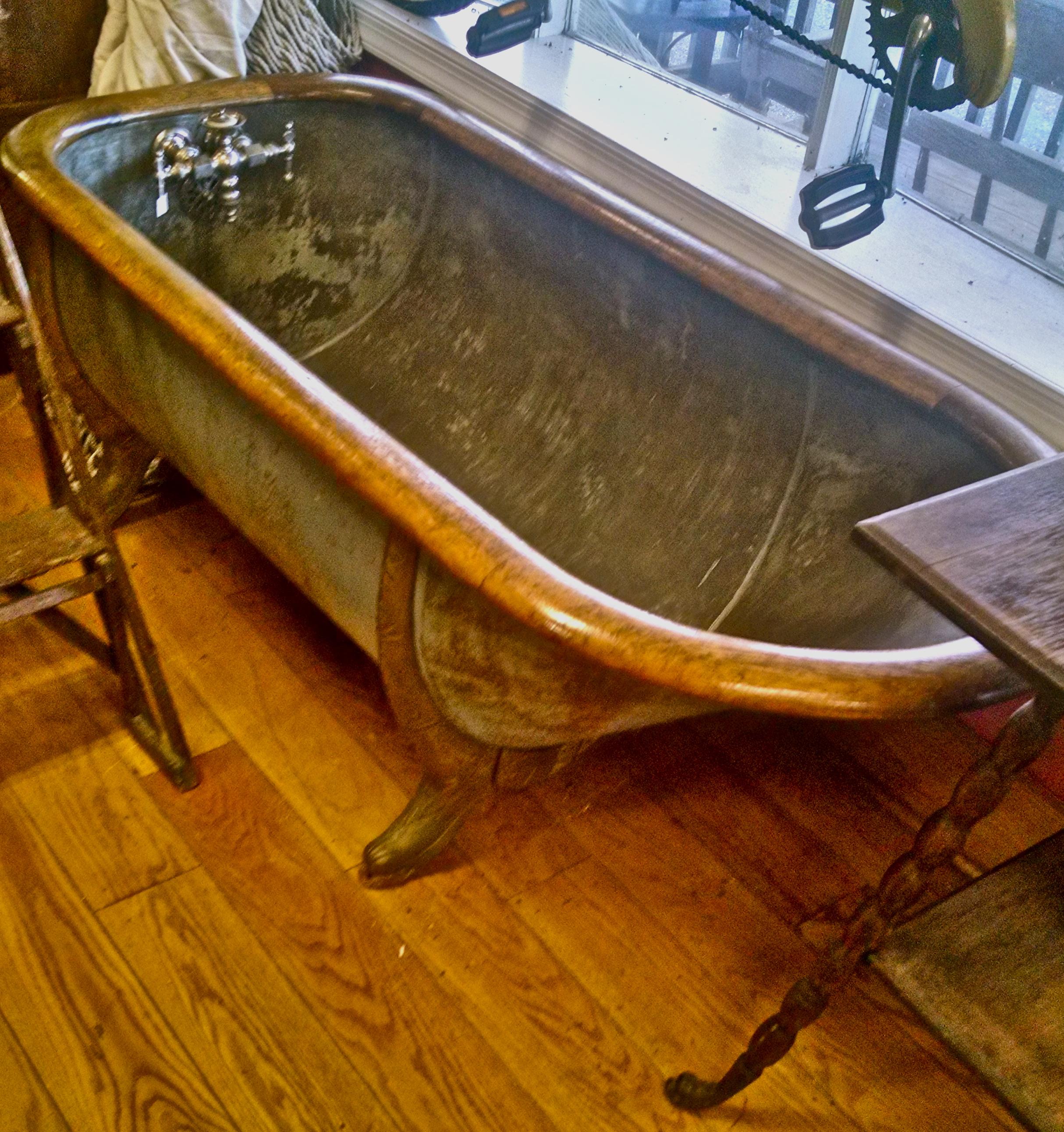 Solid Copper with Oak Trim Bathtub